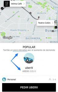 te mostramos como nos indica la aplicación de _Uber cuando las tarifas son elevadas