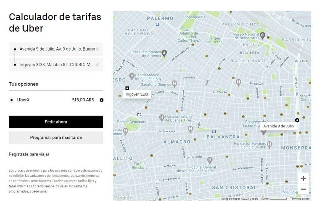 Calculadora Uber, calcula el precio de un viaje de Uber